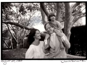 Tom Wolfe and family photographed by Jill Krementz in his backyard on August 27, 1983. At the end of the audiobook version of Tom Wolfe's 'I Am Charlotte Simmons,' the author talks of enjoying audiobooks with his family on drives out to the Hamptons.