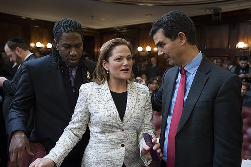 Councilman Jumaane Williams (left) with Council Speaker Melissa Mark-Viverito.