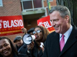Mayor Bill de Blasio campaigned