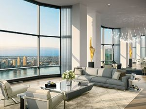 A rendering of the penthouse at 50 UN Plaza. (Hayes Davidson/Justin Ewing)