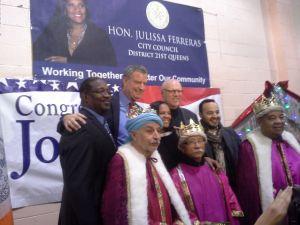 Mayor Bill de Blasio and Congressman Joe Crowley in Queens today.