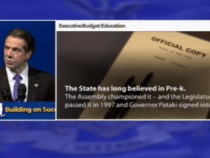 Andrew Cuomo giving the pre-K part of his budget address.