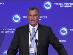 Bill de Blasio speaking today. (livestream screengrab.)