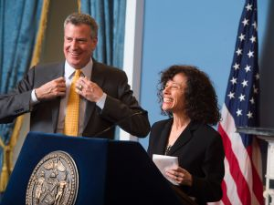 Bill de Blasio at one of two events yesterday that started around 45 minutes late. (Photo: Rob Bennett)