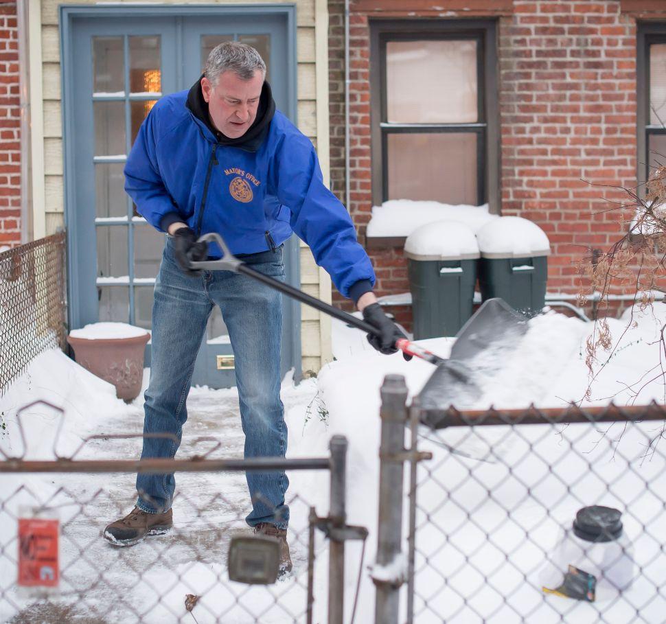 Bill de Blasio Defends Snow Response as He Shovels His Sidewalk Again