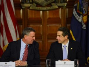 Andrew Cuomo and Bill de Blasio at a joint press conference in Albany.