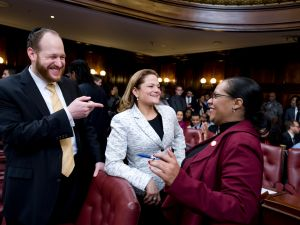 Councilman David Greenfield, left, speaks with Speaker Melissa Mark Viverito and Queens Councilwoman Julissa Ferreras.