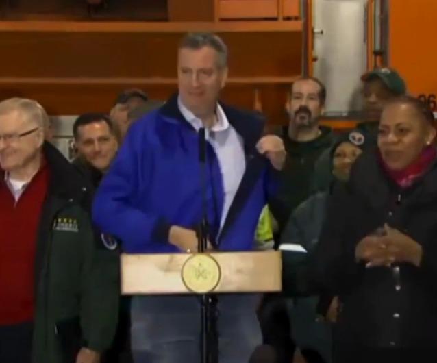 Video: Bill de Blasio Threatens to Strip During Storm Briefing