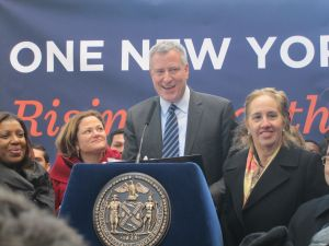 Public Advocate Tish James, Speaker Melissa Mark-Viverito, Mayor Bill de Blasio and Manhattan Borough President Gale Brewer.