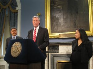 Bill de Blasio announcing two new appointments today.