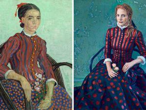 "Jessica Chastain, photographed in Vogue by Annie Leibovitz, alongside van Gogh's ""La Mousmé."""