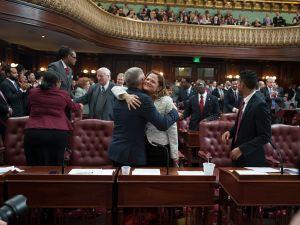 Jimmy Van Bramer and Melissa Mark Viverito hug. (Photo: William Alatriste/NYC Council)