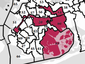 Assembly map with the vacant senate district (No. 20) overlaid. Four of the five city vacancies are in central and eastern Brooklyn.