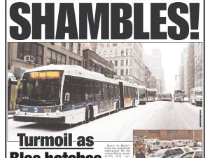 """""""SHAMBLES!"""" Today's New York Post cover."""