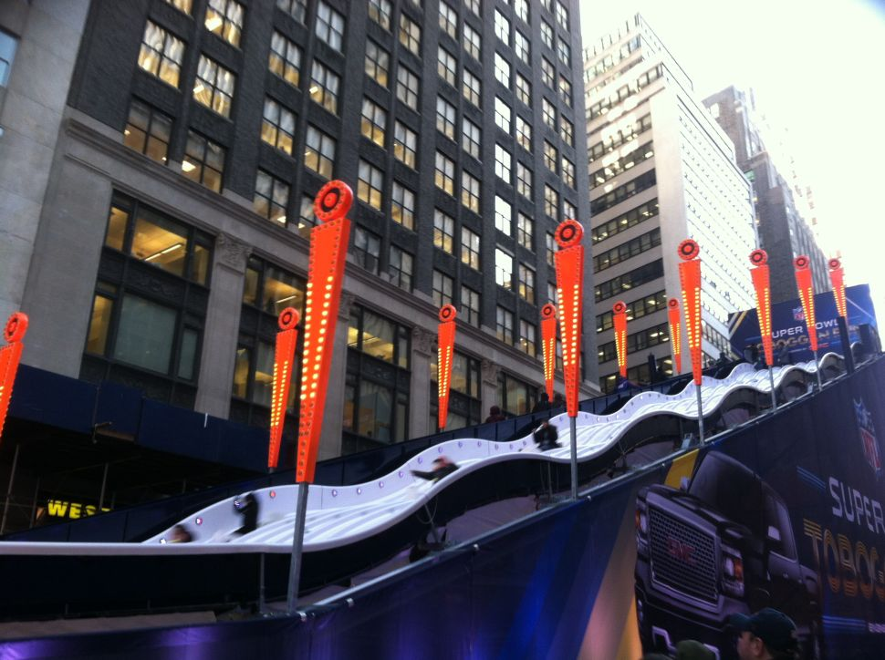 Toboggan Is a Touchdown: NYers are Loving Super Bowl Boulevard (Video)