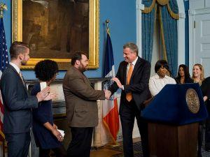 Bill de Blasio unveils his press team earlier today. (Photo: Rob Bennett/NYC Mayor's Office)
