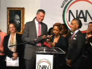 Rachel Noerdlinger speaking at National Action Network headquarters. (Screengrab: NAN)