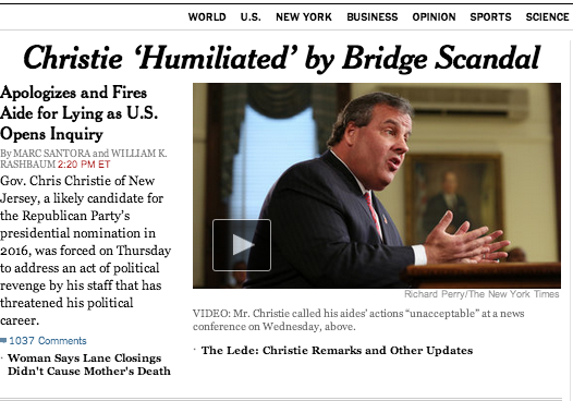 Chris Christie's 'Bridgegate' Press Conference, In Headlines