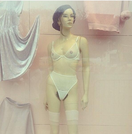 A Pubic Service? LES American Apparel Window Display Features Merkined Mannequins
