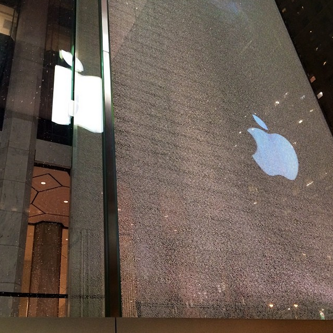 Snowblower Shatters That Weird Glass Cube Outside Fifth Avenue Apple Store