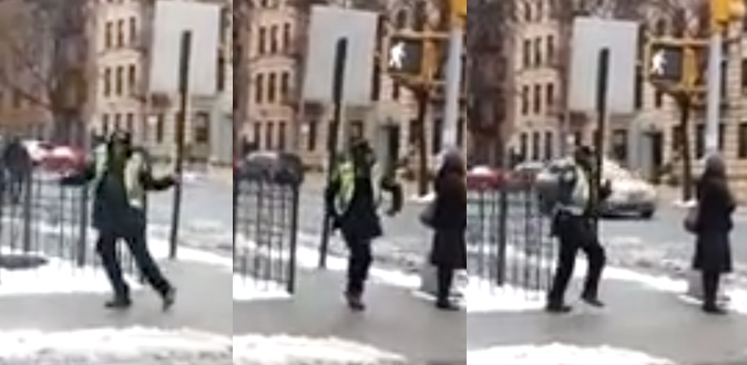 Crossing Guard Keeps Warm With A Little Brooklyn Boogie Woogie