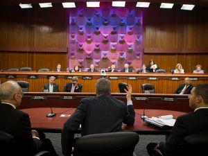 Mayor Bill de Blasio testifying in Albany.
