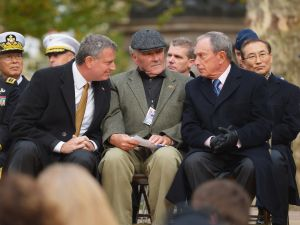 Mayor Bill de Blasio with his predecessor, Michael Bloomberg. (Photo: Getty)