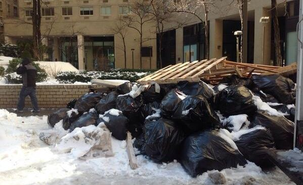 The piles might just be equal parts snow and trash (twitter).