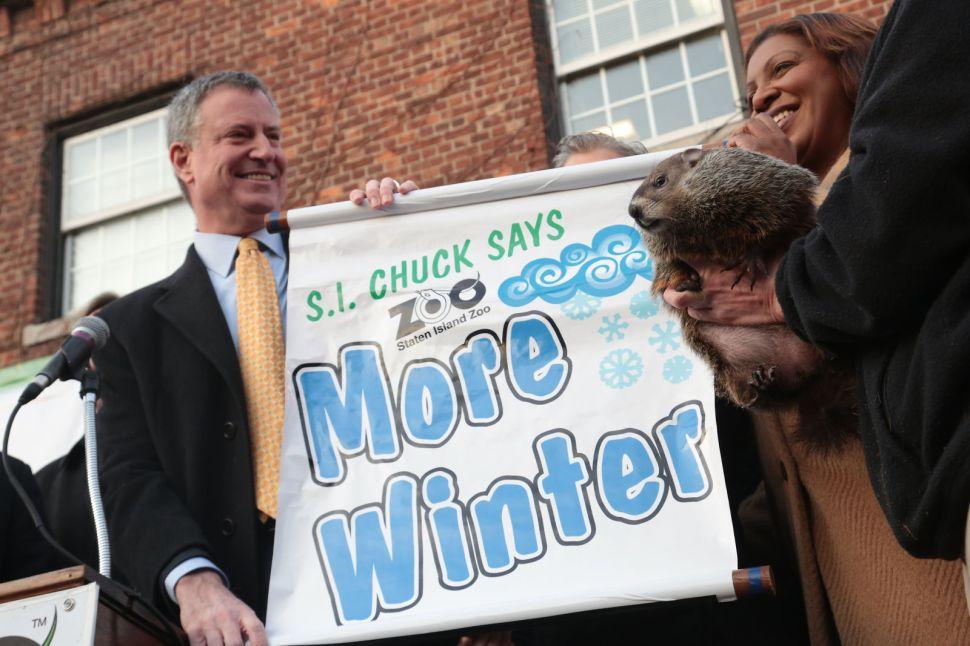 Video: De Blasio Drops Staten Island Chuck Before Announcing More Weeks of Winter