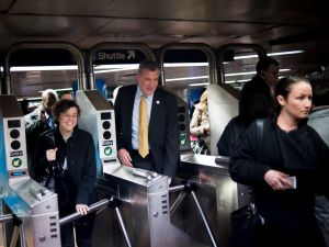 Bill de Blasio riding the subway. (Photo: Rob Bennett for NYC Mayor's Office)