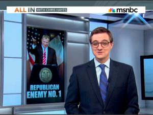 "Chris Hayes next to ""Republican Enemy No. 1."" (screengrab: msnbc.com)"