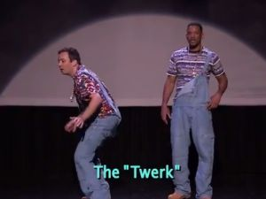 Jimmy Fallon and Will Smith twerk it out. (NBC)