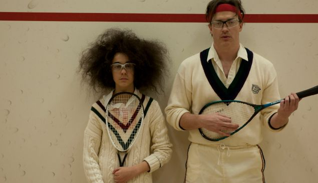 Alex Wolff, left, and Brendan Fraser in HairBrained.