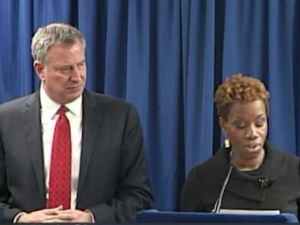 Mayor Bill de Blasio and his NYCHA Chair Shola Olatoye.