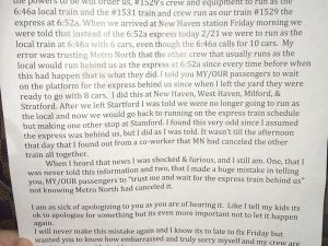 Metro North conductor Michael Shaw wrote a letter of apology to frustrated passengers affected by delays