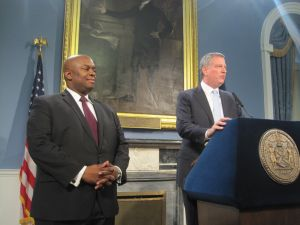 Mayor Bill de Blasio, right, with Deputy Mayor Richard Buery.