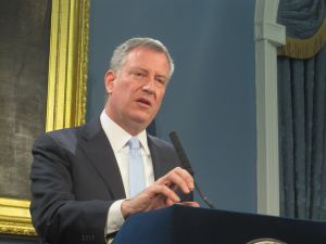 Mayor Bill de Blasio at today's City Hall press conference.