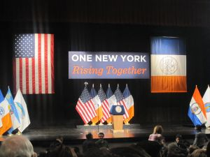 The stage set for Mayor Bill de Blasio's first State of the City speech.