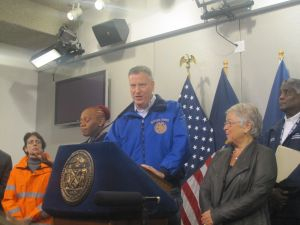 Bill de Blasio at today's press conference.