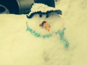 Well hello there, curbside snowman