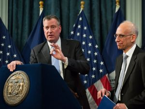 Bill de Blasio presenting his preliminary budget back in February. (Photo: Poll/The New York Times)