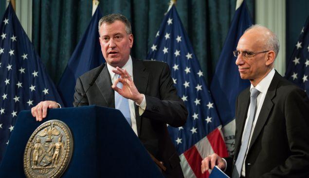 Bill de Blasio presenting his preliminary budget back in February. (Photo: Poll/The New York Times)