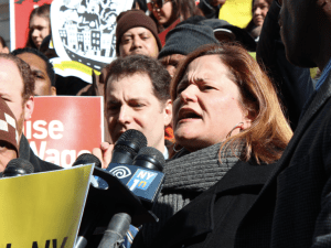 Melissa Mark-Viverito and other advocates rallying earlier today.