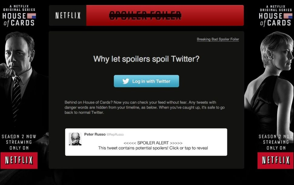 <em>House of Cards</em> SpoilerFoiler.Com is Brilliant, Why Are We Not Doing This for Every Show?