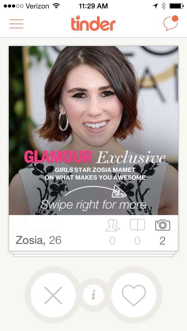 Glamour Pushes New Zosia Mamet Column With Tinder Stunt