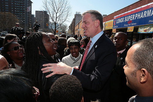 Mayor Bill de Blasio outside Rev. Al Sharpton's National Action Network headquarters. (Photo: NYC Mayor's Office)