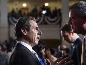 Gov. Andrew Cuomo with Mayor Bill de Blasio. (Photo: Getty)