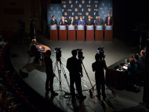 The Democratic candidates in their 2013 debate. (Photo: Pool)