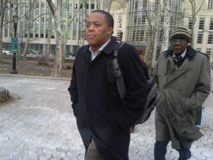 Assemblyman William Boyland Jr. leaving a Brooklyn federal court house today.