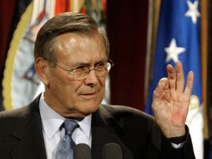 "Rumsfeld telling an audience at the National Defense University in 2002 that the U.S. faced attacks ""vastly more deadly"" than September 11. (Photo: Getty Images)"